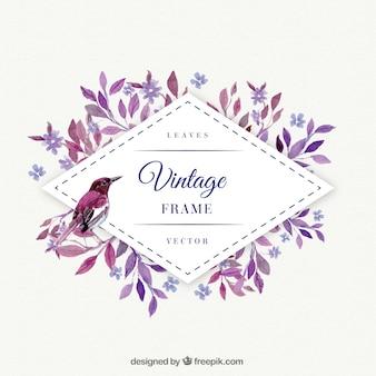Folhas roxas com frame do pássaro da aguarela