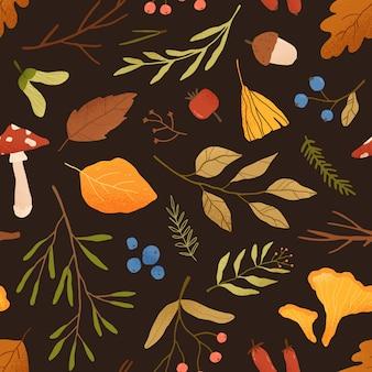Folhas secas de outono padrão sem emenda de vetor plana. textura decorativa de galhos de árvores diferentes, cogumelos e bagas de floresta. ilustração de folhagem de outono. Vetor Premium