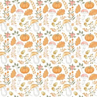 Folhas sem costura padrão mão desenhada de fundo no outono