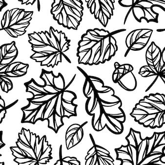 Folhas teste padrão de outono monocromático a céu aberto silhuetas de folhas da floresta outono natureza esboço sem costura