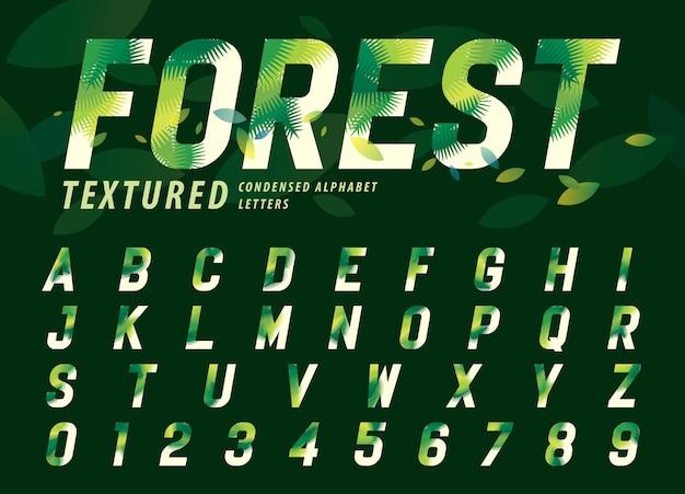 Folhas textura alfabeto letras e números, folha de palmeira moderna letra