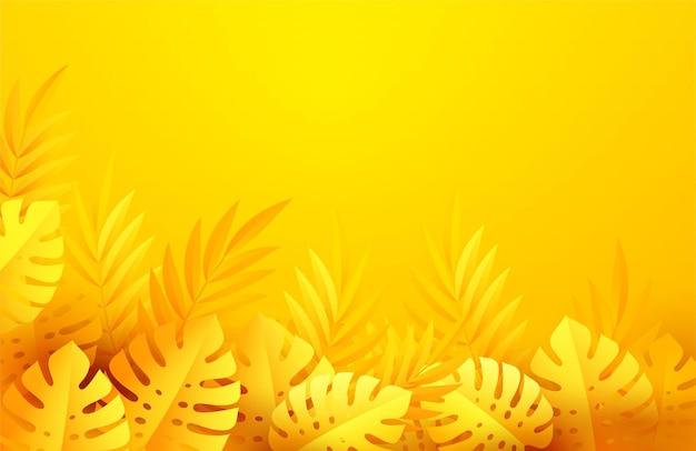 Folhas tropicais amarelas quentes de verão