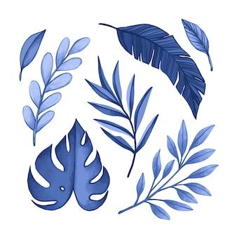 Folhas tropicais azuis monocromáticas