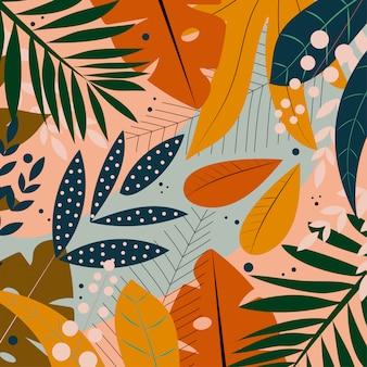 Folhas tropicais brilhantes sobre um fundo verde delicado