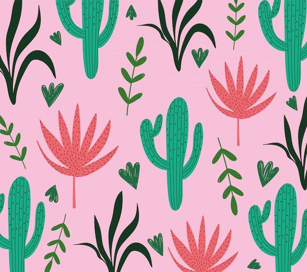 Folhas tropicais cacto planta folhagem fundo rosa exótico