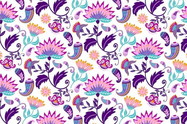 Folhas tropicais coloridas e padrão de flores