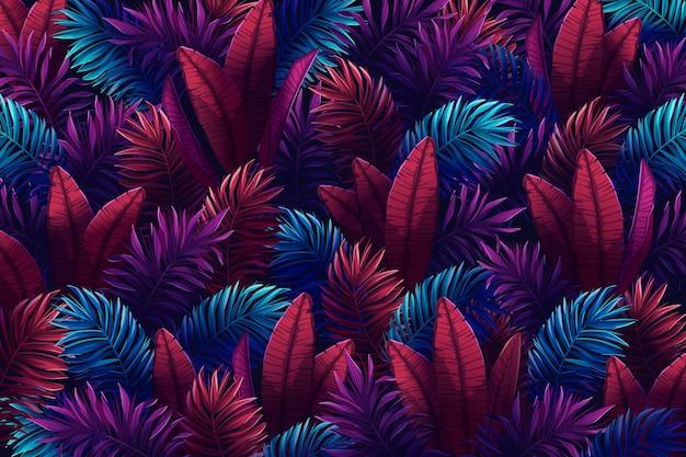 Folhas tropicais coloridas fundo de verão