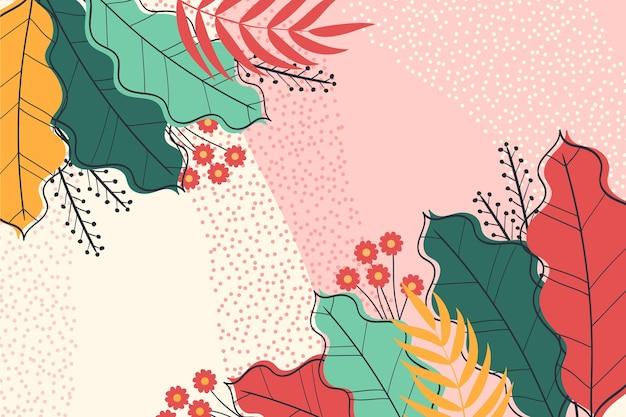 Folhas tropicais coloridas zoom fundo