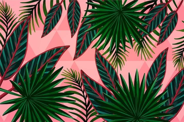 Folhas tropicais com conceito de fundo geométrico