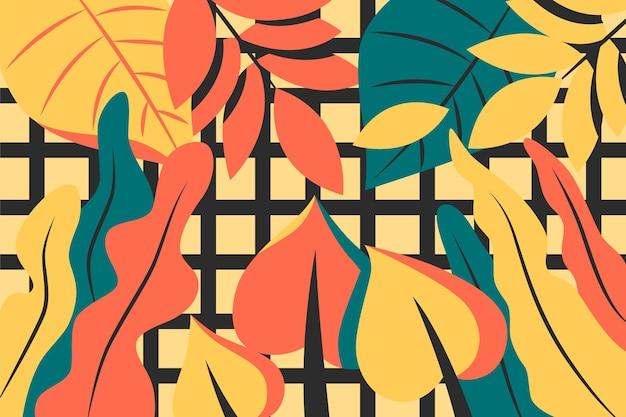 Folhas tropicais com geométrico