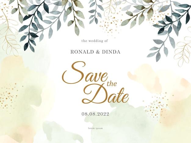 Folhas tropicais com respingos de aquarela no cartão de convite de casamento