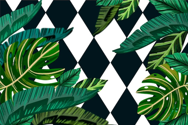 Folhas tropicais com tema de fundo geométrico