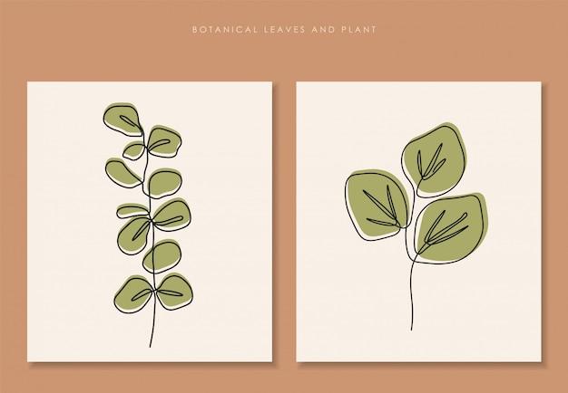 Folhas tropicais, conjunto de plantas botânicas isoladas, design de arte simples, linha abstrata