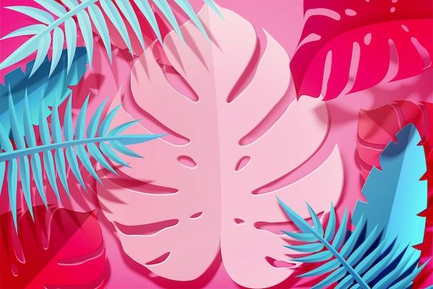 Folhas tropicais de arte em papel de verão em ilustração 3d, tons fúcsia e azul