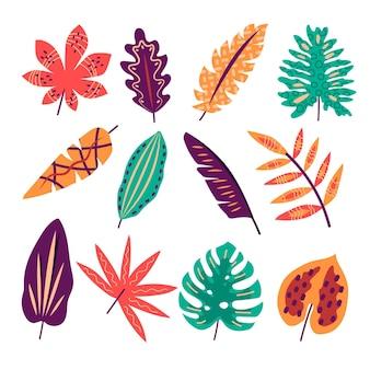 Folhas tropicais de desenho abstrato