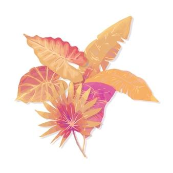Folhas tropicais de estilo monocromático