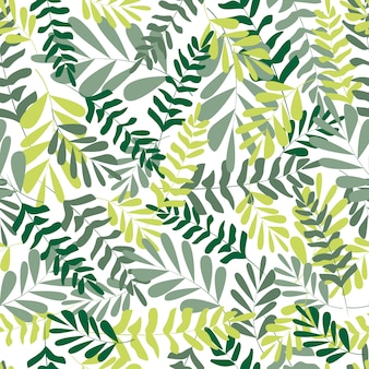 Folhas tropicais de padrão floral sem emenda