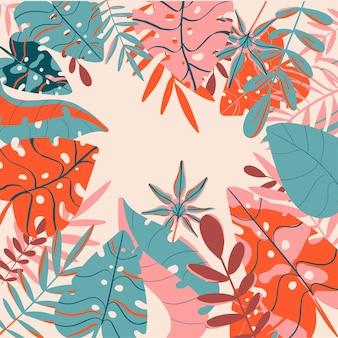 Folhas tropicais de primavera e verão frescas e cores da moda de fundo brilhante