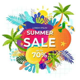 Folhas tropicais de venda de verão e banner líquido