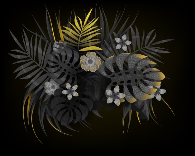 Folhas tropicais de verão com folha de palmeira de plantas exóticas pretas e douradas. tendências de cores no banner de modelo de fundo escuro