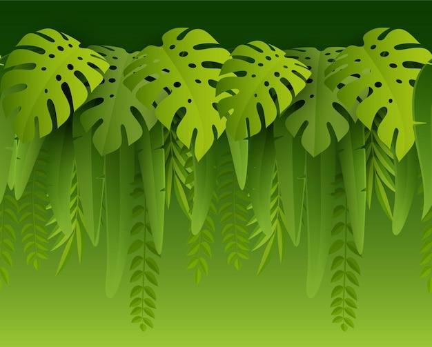 Folhas tropicais de verão verde sem costura