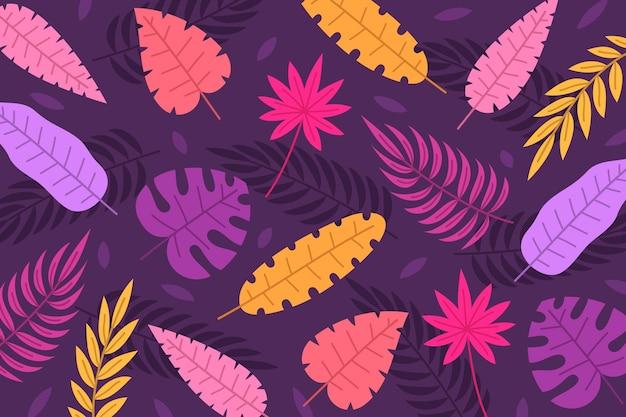 Folhas tropicais desenhadas à mão, fundo de verão