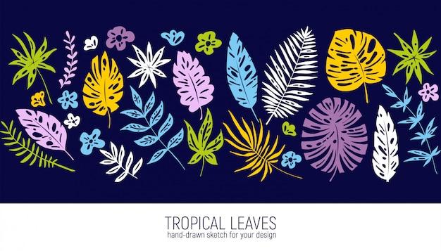 Folhas tropicais desenhadas à mão