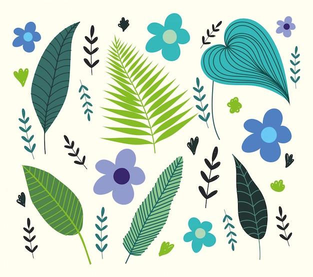 Folhas tropicais diferentes flores folhagem ramos natureza