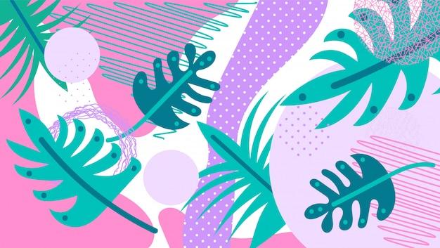 Folhas tropicais do fundo da selva.