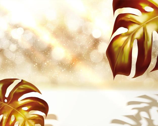 Folhas tropicais douradas em fundo brilhante na ilustração 3d