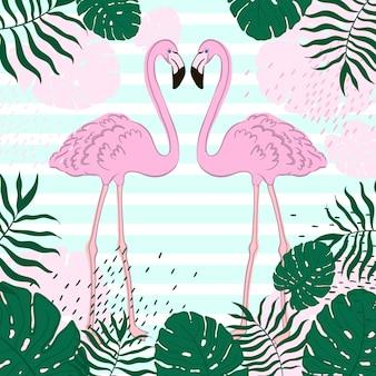 Folhas tropicais e bandeira de verão flamingo