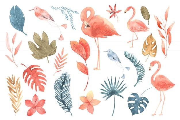Folhas tropicais e flamingo.