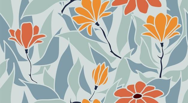 Folhas tropicais e flores sem costura padrão