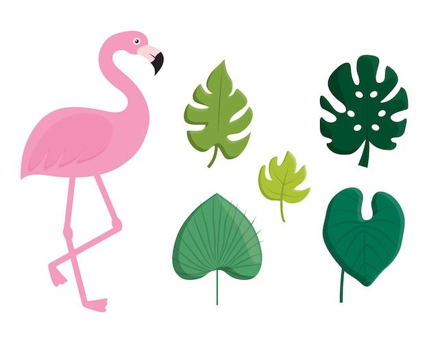 Folhas tropicais e ícone flamingo