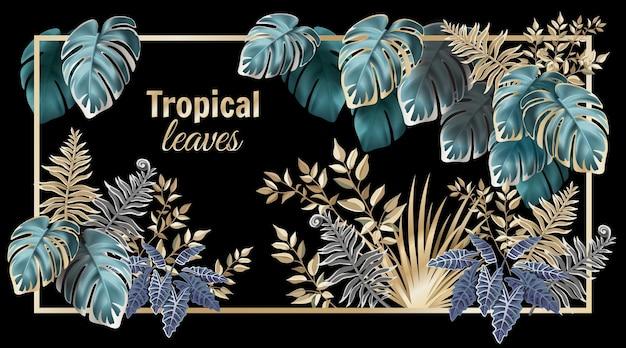Folhas tropicais escuras, palmeiras e lianas.