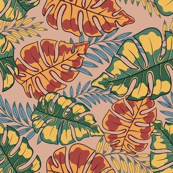 Folhas tropicais florais exóticas de verão fundo abstrato folhas coloridas padrão sem emenda