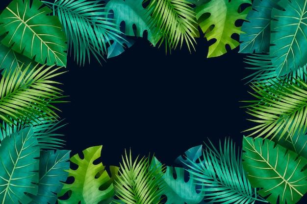 Folhas tropicais gradiente verde cópia espaço