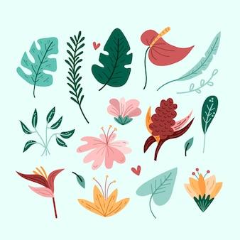 Folhas tropicais isoladas no papel de parede azul
