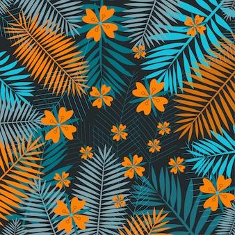 Folhas tropicais laranja e verdes sobre um fundo escuro