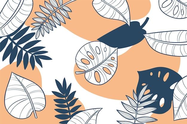 Folhas tropicais lineares com papel de parede de cor pastel