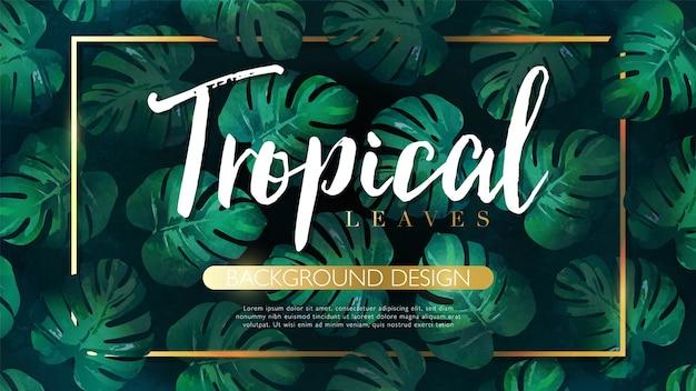 Folhas tropicais luxuosas desenhadas à mão com moldura dourada