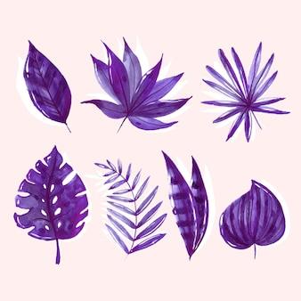 Folhas tropicais monocromáticas em aquarela