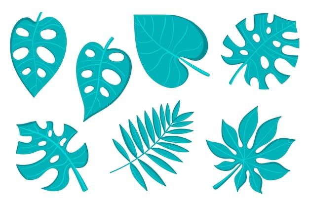 Folhas tropicais monocromáticas