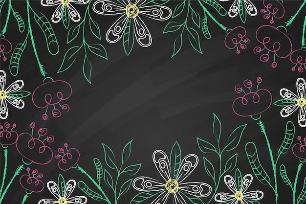 Folhas tropicais no fundo de espaço de cópia de quadro-negro