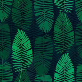 Folhas tropicais, padrão de selva. sem costura padrão botânico com folhas de palmeira. backg vector