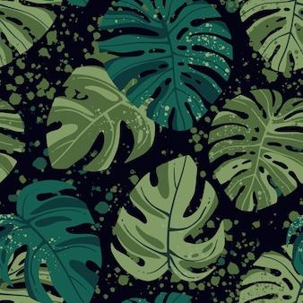 Folhas tropicais padrão sem emenda