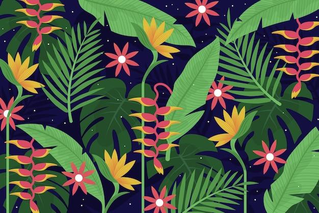 Folhas tropicais para o conceito de papel de parede zoom