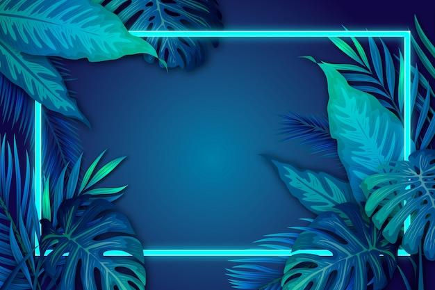 Folhas tropicais realistas com moldura de néon com espaço de cópia