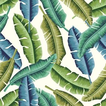 Folhas tropicais, seamless, padrão, desenho