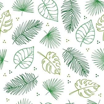 Folhas tropicais sem costura de fundo